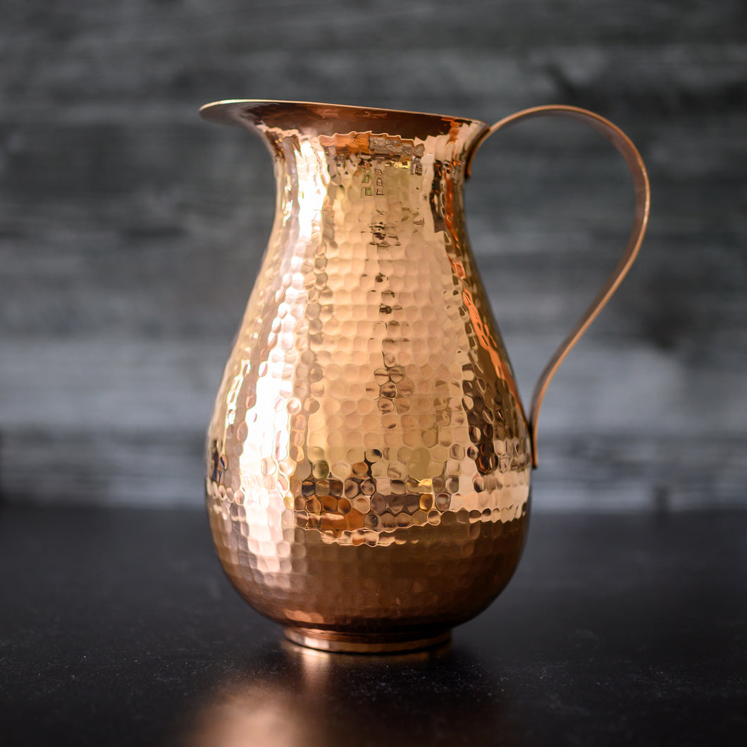 Large Hammered Copper Pitcher