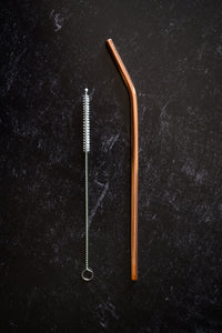 Pure Copper Reusable Straw with Brush