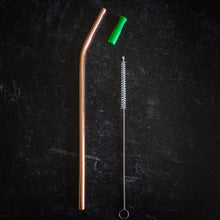 Load image into Gallery viewer, Pure Copper Reusable Straw with Brush