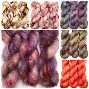 colourful hand dyed yarn hanks