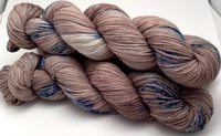 "Hand Dyed Yarn ""Siamese Gaze"" Brown Taupe Tan Blue Turquoise Cobalt Teal Violet Speckled Merino Nylon Sock Fingering SW 437yds 100g"