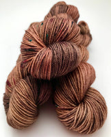 "Hand Dyed Yarn ""Smoking Jacket"" Brown Khaki Grey Tan Chestnut Gold Purple Teal Speckle Merino Cashmere Silk Sportweight SW 300yds"