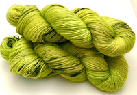 "Hand Dyed Yarn ""Venomous"" Green Yellow Chartreuse Lime Navy Black Speckled Merino Sport Superwash 328yds 100g"