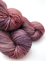 "Hand Dyed Yarn ""Figamajig"" Purple Brown Tan Grey Green Pink Speckled Merino Alpaca Nylon Fingering Yarn Superwash 438yds 100g"