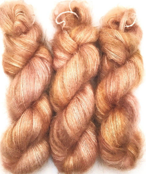 "Hand Dyed Yarn ""Apple Pie Guts"" Beige Gold Mauve Orange Brown Taupe Pink Kid Mohair Silk Laceweight 465yds 50g"