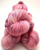 "Hand Dyed Yarn ""Graffiti Grrl"" Pink Red Violet Yellow Black Speckled Polwarth Fingering Superwash 438yds 100g"
