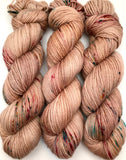"Hand Dyed Yarn ""Pimp My Palomino"" Beige Tan Brown Blonde Taupe Pink Turquoise Speckled Bluefaced Leicester Sport Superwash 287yds 100g"