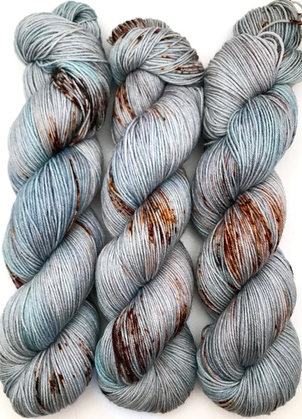 "Hand Dyed Yarn ""Chinook"" Blue Turquoise Brown Grey Purple Speckled Merino Silk Lace Yarn Superwash 875yds 100g"