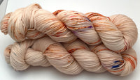 "Hand Dyed Yarn ""Himself in the Altogether"" Blush Gold Rust Orange Copper Speckled Merino Nylon Fine Fingering Superwash 463yds 100g"
