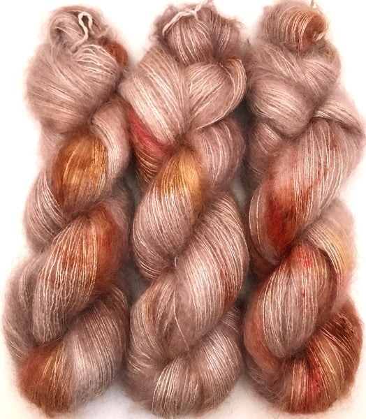 "Hand Dyed Yarn ""Caramel Mochaccino"" Brown Gold Caramel Taupe Pink Kid Mohair Silk Laceweight 465yds 50g"
