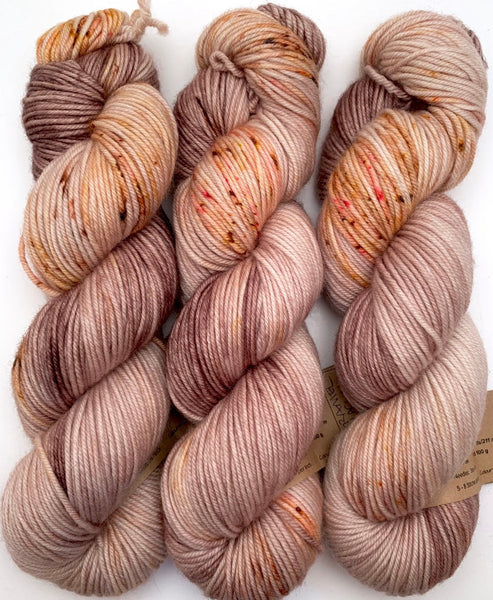 "Hand Dyed Yarn ""Caramel Mochaccino"" Brown Caramel Gold Pink Red Tan Speckled Merino DK Weight Superwash 231yds 100g"