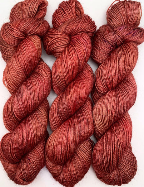 "Hand Dyed Yarn ""Another Brick in the Shawl"" Brick Red Rust Brown Orange Pink Copper Speckled Merino Sport Superwash 328yds 100g"