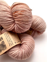 "Hand Dyed Yarn ""Caramel Mochaccino"" Brown Caramel Gold Pink Red Tan Speckled Merino Sport Weight Superwash 328yds 100gw"