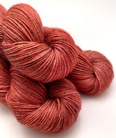 "Hand Dyed Yarn ""Another Brick in the Shawl"" Brick Red Rust Brown Orange Pink Copper Speckled Merino Silk Cashmere Fingering 438yds 100g"