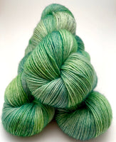 "Hand Dyed Yarn ""Just Escarole With It"" Green Lime Sage Avocado Grey Speckled Merino DK Superwash 231yds 100g"