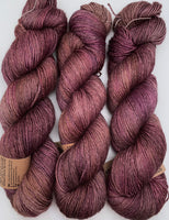 "Hand Dyed Yarn ""Plush"" Purple Plum Brown Gold Puce Bluefaced Leicester BFL Silk Fingering Superwash 425yds 115g"