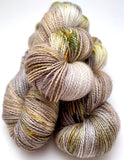 "Hand Dyed Yarn ""Lichen Me on Mossbook""  Grey Tan Greige Brown Yellow Orange Green Black Speckled  Merino Mohair Fingering SW 425 yds 115"