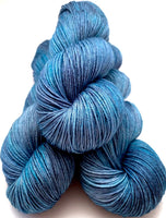 "Hand Dyed Yarn ""Blew By You"" Blue Denim Cobalt Indigo Grey Navy Merino Silk Cashmere Fingering Superwash 438yds 100g"