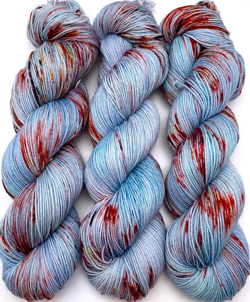 "Hand Dyed Yarn ""Koi Toy"" Orange Blue Turquoise Red Gold Purple Speckled Merino Nylon Fine Fingering Sock Superwash 463yds 100g"
