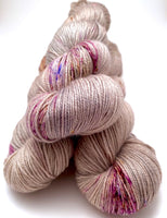 "Hand Dyed Yarn ""In the Gloaming"" Tan Grey Blush Purple Brown Gold Bluefaced Leicester BFL Silk Fingering Sock Superwash 425yds 115g"