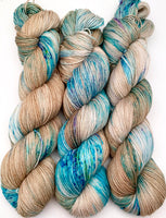 "Hand Dyed Yarn ""Glacial"" Blue Teal Turquoise Violet Brown Tan Caramel Speckled Merino Sport Weight Superwash 328yds 100g"