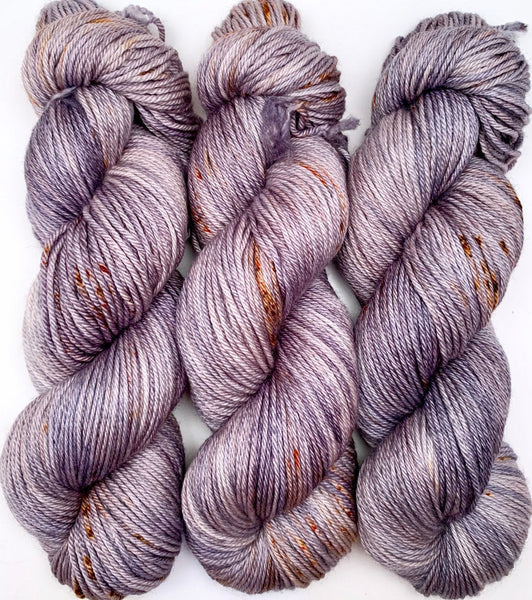 "Hand Dyed Yarn ""Dusty Rusty Denim"" Blue Brown Navy Grey Rust Speckled Merino Silk DK Superwash 246yds 100g"