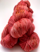 "Hand Dyed Yarn ""Seasoned"" Red Melon Pink Orange Gold Brown Brick Speckled Merino Nylon Fingering Sock Superwash 463yds 100g"
