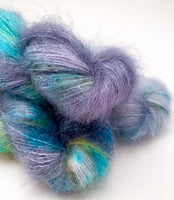 "Hand Dyed Yarn ""BeeBop Blues"" Blue Grey Navy Turquoise Teal Ochre Gold Kid Mohair Silk Laceweight 465yds 50g"