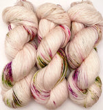 "Hand Dyed Yarn ""Floramour"" Green Lime Purple Gold Yellow Brown Speckled Merino Lace Singles 825 yds 115g"