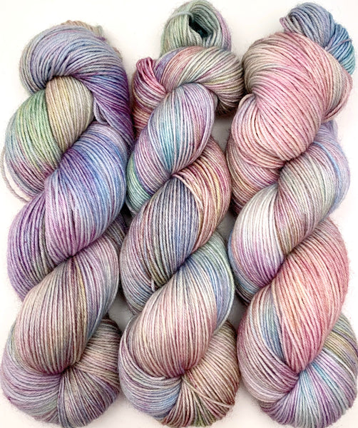 "Hand Dyed Yarn ""Cosmic Sound Machine (Low Volume)"" Green Orange Blue Pink Yellow Purple Polwarth Fingering Superwash 438yds 100g"