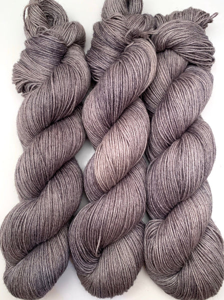 "Hand Dyed Yarn ""Charred"" Grey Gray Silver Taupe Merino Cotton Fingering SW 438yds 100g"