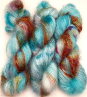"Hand Dyed Yarn ""Fishgold"" Turquoise Teal Gold Rust Caramel Green Pink Violet Kid Mohair Silk Laceweight 465yds 50g"