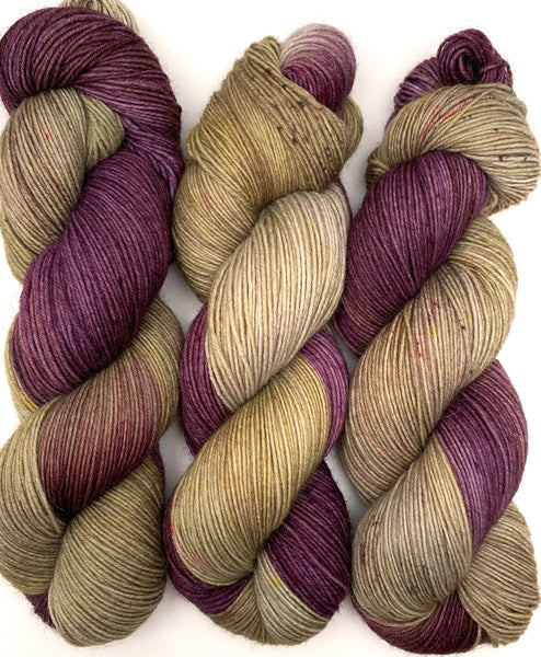 "Hand Dyed Yarn ""Kenspeckle XXXIV"" Purple Green Khaki Plum Aubergine Wool Nylon Sock Fine Fingering Superwash 465yds 100g"