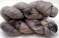 "Hand Dyed Yarn ""Silverbirchenstick"" Grey Brown Tan Black Speckled Bluefaced Leicester Lace Superwash 875yds 100g"