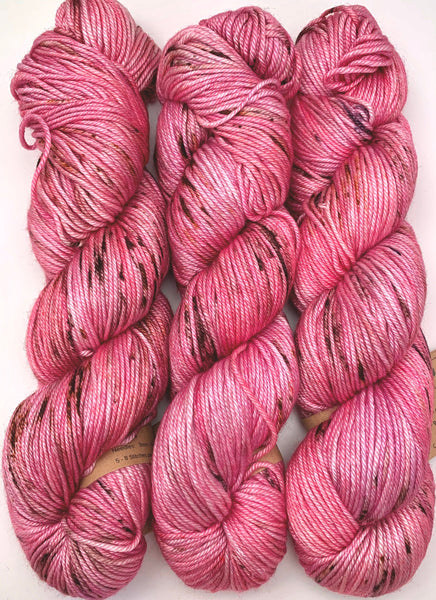 "Hand Dyed Yarn ""Dirty Girl"" Pink Fuchsia Magenta Brown Red Copper Grey Speckled Merino Silk DK Weight Superwash 231yds 100g"
