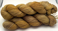 "Hand Dyed Yarn ""Whirled Peas (With Sprinkles on Top)"" Green Khaki Orange Gold Brown Mustard Speckled BFL Nylon Fine Fingering SW 463yds 100g"