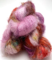 "Hand Dyed Yarn ""Hullabaloo"" Purple Mauve Violet Red Gold Green Brown Ochre Speckled Kid Mohair Silk Laceweight 465yds 50g"