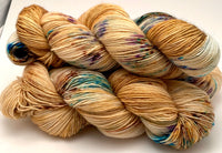 "Hand Dyed Yarn ""Funny Honey"" Yellow Gold Violet Orange Brown Turquoise Caramel Speckled Merino Fine Fingering Singles Superwash 465yds 115g"