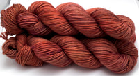"Hand Dyed Yarn ""Another Brick in the Shawl"" Brick Rust Orange Brown Pink Red Speckled Merino DK Weight Superwash 231yds 100g"