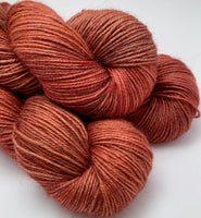 "Hand Dyed Yarn ""Another Brick in the Shawl"" Brown Gold Brick Red Orange Rust Copper Bluefaced Leicester BFL Silk Fingering SW 425yds 115g"