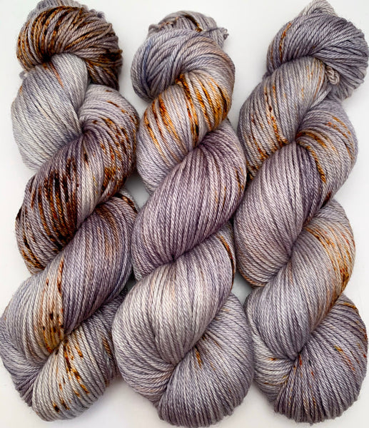 "Hand Dyed Yarn ""Rusty Bucket"" Grey Brown Silver Orange Copper Rust Speckled Merino Silk DK Superwash 246yds 100g"