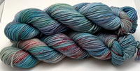 "Hand Dyed Yarn ""Shark Attack in the Blue Lagoon"" Blue Teal Turquoise Aqua Pink Vermilion Speckled Merino Worsted 8 Ply SW 218yds 100g"