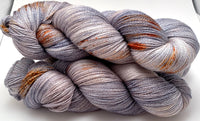 "Hand Dyed Yarn ""Dusty Rusty Denim"" Blue Navy Brown Grey Rust Copper Speckled Merino Silk Lace Yarn Superwash 875yds 100g"