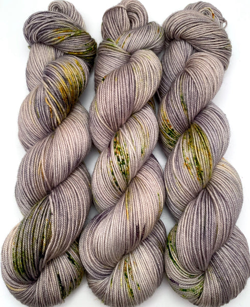 "Hand Dyed Yarn ""Lichen Me on Mossbook""  Grey Tan Brown Yellow Orange Green Black Orange Speckled Merino Sport Superwash 328yds 100g"