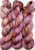 "Hand Dyed Yarn ""Hullabaloo"" Purple Mauve Violet Red Gold Green Brown Ochre Speckled Merino Silk Fingering Superwash Singles 438yds 100g"