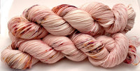 "Hand Dyed Yarn ""Mischievous Grin"" Pink Brown Purple Blush Red Yellow Orange Speckled Merino Nylon Fine Fingering Superwash 463yds 100g"