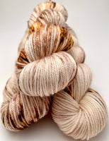 "Hand Dyed Yarn ""Whole Grain"" Brown Copper Chestnut Caramel Tan Ecru Speckled Merino Worsted SW 218yds 100g"