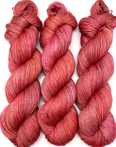 "Hand Dyed Yarn ""Potpourri"" Blush Purple Pink Orange Yellow Red Fuchsia Rust Brown Merino Fingering Yarn Superwash 438yds 100g"