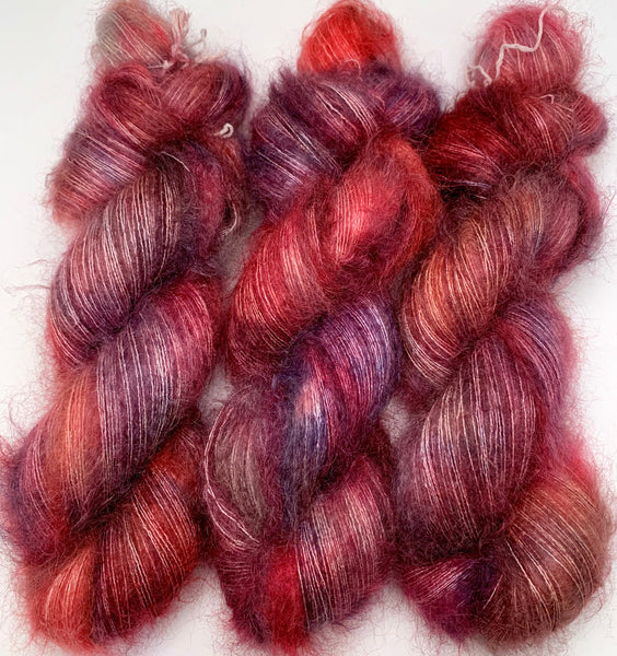 "Hand Dyed Yarn ""Masquerade"" Blue Purple Red Pink Gold Orange Violet Grey Kid Mohair Silk Laceweight 465yds 50g"