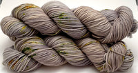 "Hand Dyed Yarn ""Lichen Me on Mossbook"" Grey Silver Green Gold Tan Lime Speckled Merino 8-Ply Worsted SW 218yds 100g"